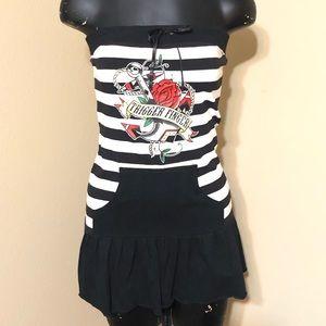 Lucky 13 Black White Stripe Strapless Tunic